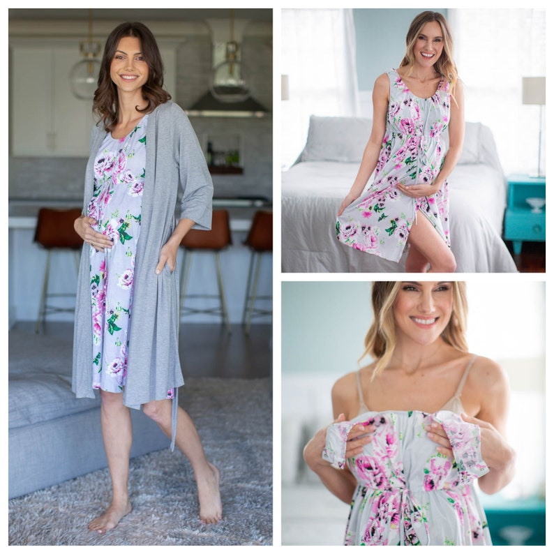 Light Heather Grey Labor Delivery ROBE /& 3 in 1 Olivia Labor and Delivery GOWN  by Baby Be Mine Maternity  Hospital Bag 2 PC Set