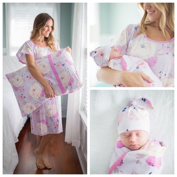 4b03a04cc07 4 PC Set Anais Floral Maternity Labor Delivery Hospital Gown