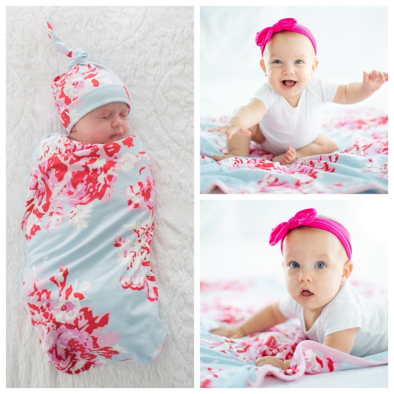 b7e0e3e0493 3 PC Set Mae Floral Swaddle Blanket and Newborn Hat Hot