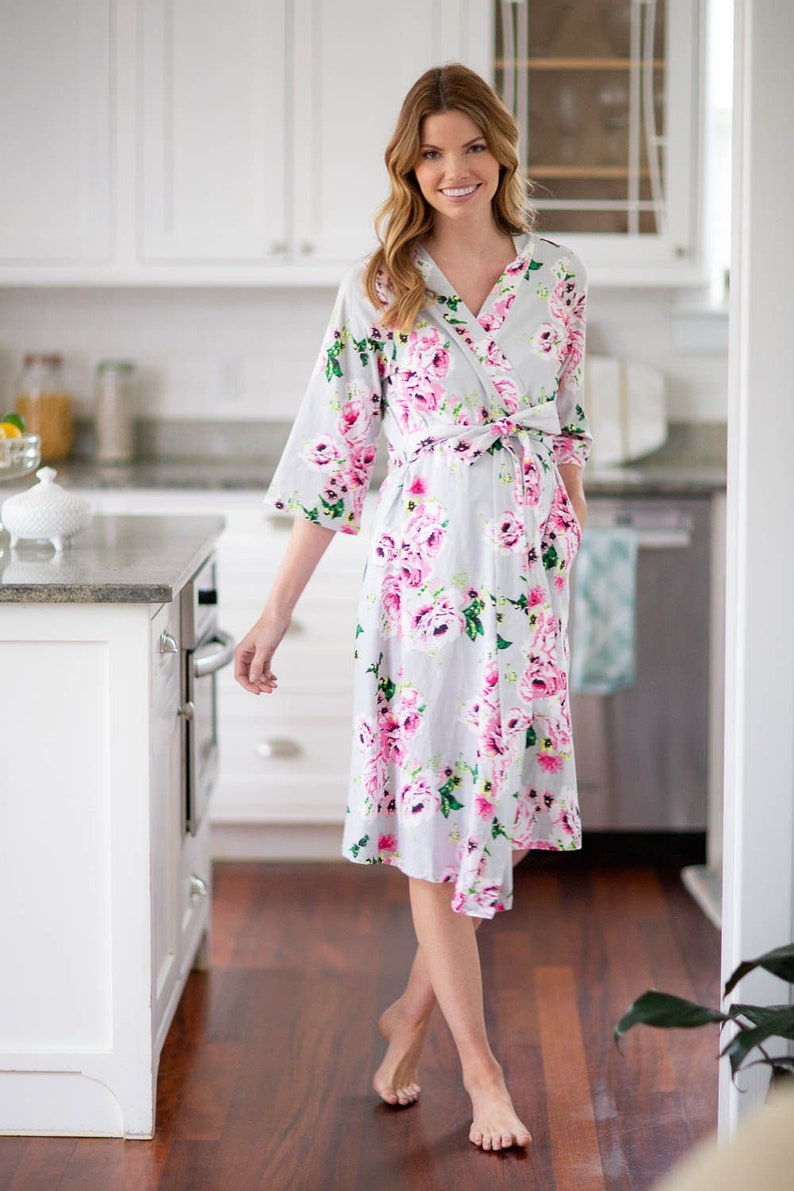 Olivia Maternity Labor Nursing Delivery ROBE and Matching Baby Girl SWADDLE Blanket /& Newborn Hat and Burp Cloth Set  By Baby Be Mine