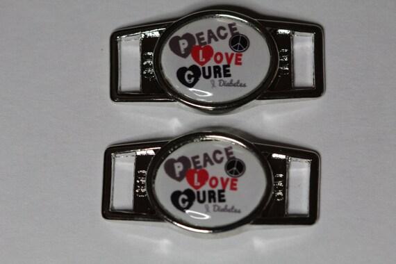 1 Peace Love Cure Diabetes oval shoelace charm for paracord bracelets