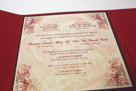 Bilingual English And Vietnamese Oriental Chinese Dragon Phoenix Wedding Invitations Suite With Rsvp Card