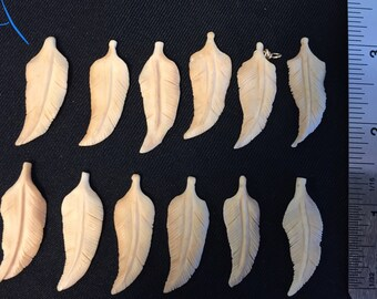 Vintage Carved Bone Feathers