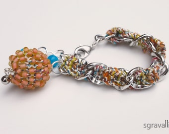 Peach Silver Chain Pendant Dangle Bracelet. Hand knitted With Multicolour Yarn And Glass Beads. Orange Turquoise Accents. STELLA bracelet