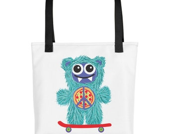 Skateboarding Teal Munchie Monster Purse Carry On Diaper Bag Tote bag
