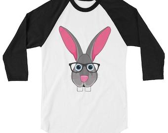 Flemish Giant Bunny Rabbit with glasses baseball Tee 3/4 sleeve raglan shirt