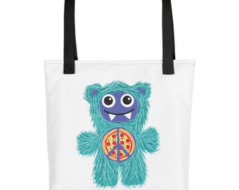 Pizza Peace Teal Munchie Monster Purse Carry On Diaper Bag Tote bag