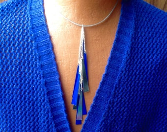 Necklace, Blue and Silver Choker Necklace