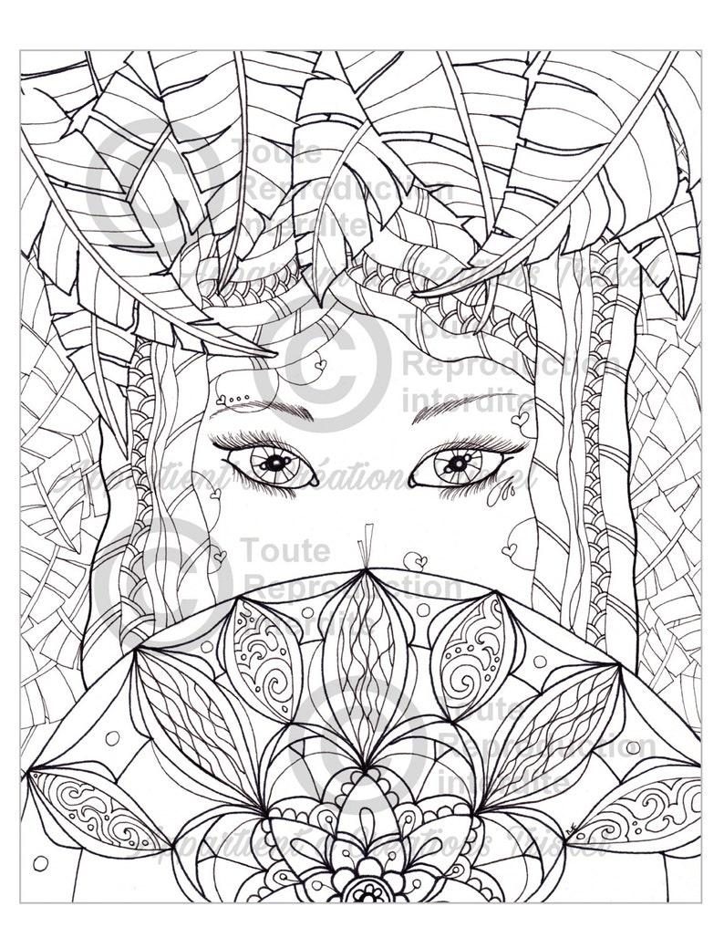 Dessin A Colorier Style Mandala A L Unite 0008 Femme Etsy