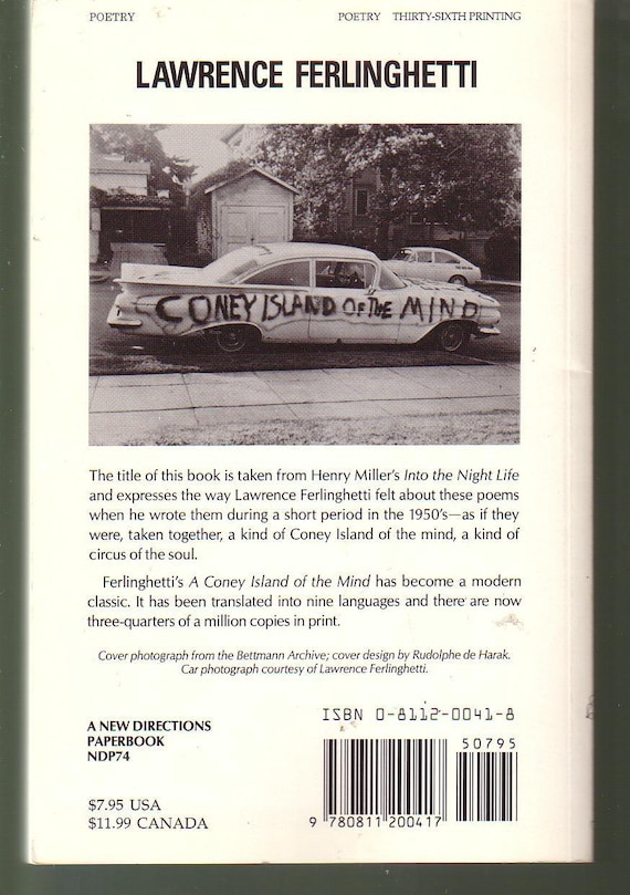 Like New A Coney Island Of The Mind Poems By Lawrence Ferlinghetti New Directions Paperback In Like New Condition Great Gift