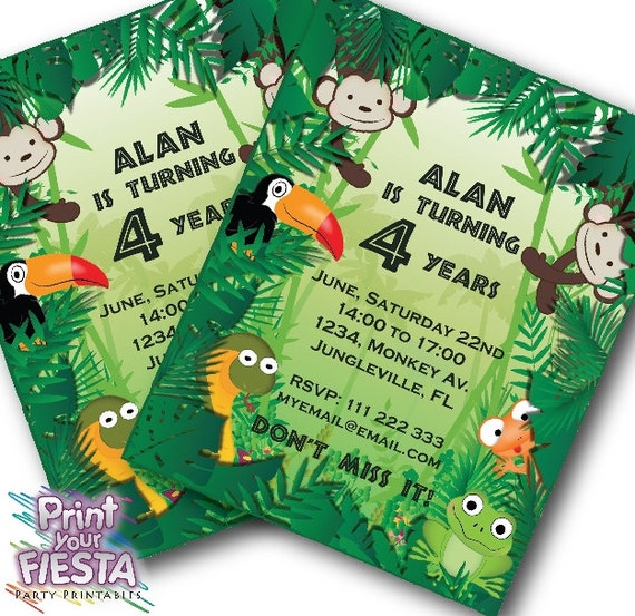 Print Your Fiesta Editable Digital Party Cards Jungle