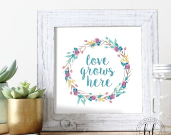 Love Grows Here Spring Printable Sign | Spring Printable Sign | Spring Home Decor | Love Grows Here Sign | Spring 8x10 Sign