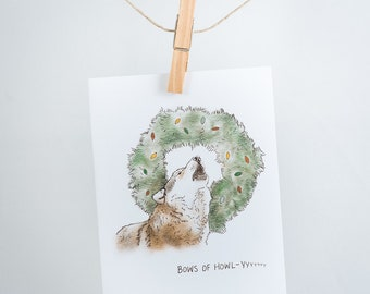 Notecard - Bows of howly - wolf, wreath - greeting card, Christmas, holidays