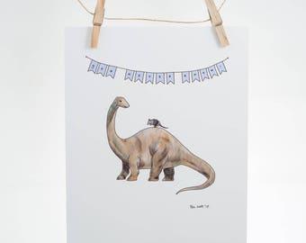 You never know! - armadillo, brontosaurus, apatosaurus - encouragement - 8x10 Illustration Print