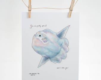 Hola mola mola! (You are pretty special and I like you) - love, friendship, gratitude - 8x10 Illustration Print