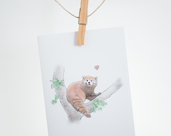 Notecard - heart - red panda - greeting card, love, support, friendship