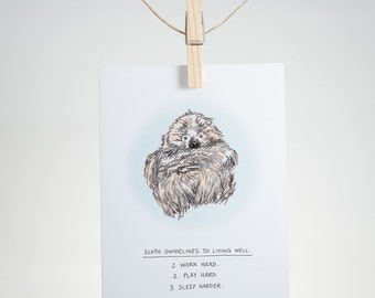Notecard - Living well guidelines - sloth - greeting card, encouragement, friendship, mindfulness, loving reminder, just because