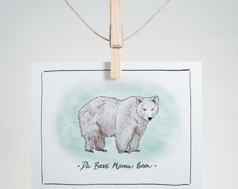 Notecard - Da Best Mama Bear - grizzly bear - greeting card, Mother's Day, gratitude, love, thank you