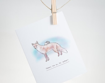 Thanks for all the support! - red fox, hedgehog - greeting card, gratitude, love, thank you