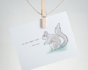 Notecard - Nut Love - squirrel - greeting card, friendship, love, romance