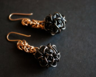 Chainmaille Earrings in Bronze with Copper Japanese Ball