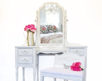 White Vanity With Bench and Mirror   Vintage Vanity Dressing Table   Makeup Vanity Table   Vanity with Stool and Mirror   White Vanity Desk