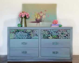 Rustic Gray Dresser   Modern Farmhouse Dresser   Gray Bedroom Furniture   Duck Egg Blue   Succulent   Gray Painted Dresser   Grey Dresser