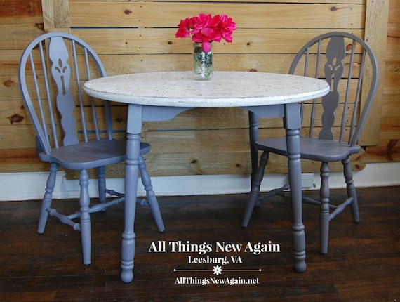 Small Gray Kitchen Table | Small Farmhouse Kitchen Table | Small Dining  Table and 2 Chairs | Kitchen Nook Table | Breakfast Nook Table