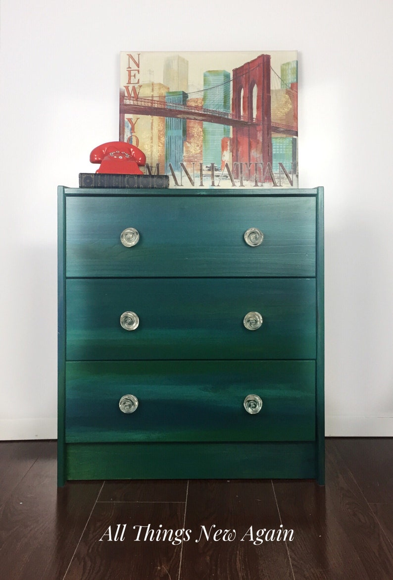 Green Dresser | Emerald Green Dresser | Small Chest of Drawers | Bedroom  Furniture | Large Nightstand | 3-Drawer Dresser | Green Nightstand
