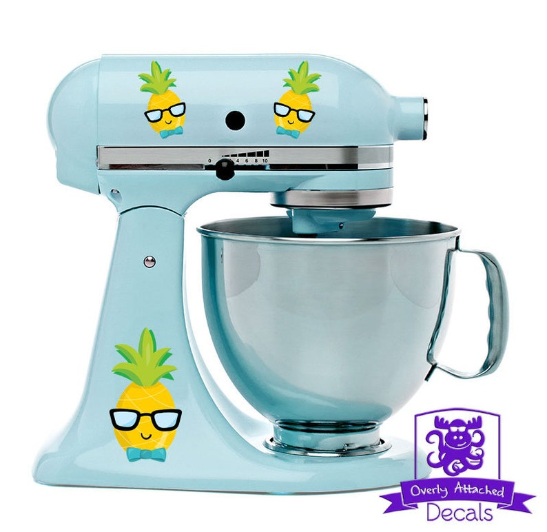 Cute Happy Pineapple Boy Head with Glasses Kitchen Stand Mixer Wrap Front /& Back Decal Set Full Color