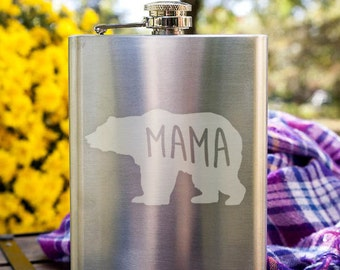 Mama Bear Motherly Love Customizable Etched Stainless Steel Flask Barware Gift