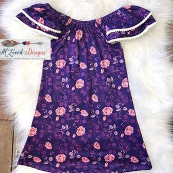 Purple & Pink Pom Pom Trimmed Dress