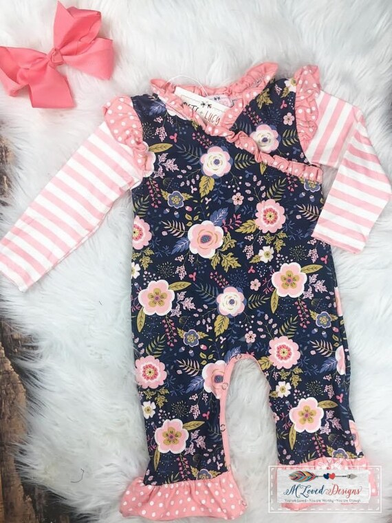Coral and Navy floral ruffled romper-size 18-24