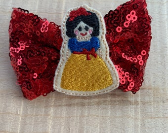 Snow White Inspired Hair Bow|Hair clip|Hair Flower
