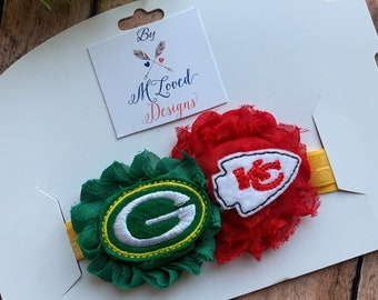 A House Divided-Green Bay Packers and Kansas City Chiefs Headband or Hair Clip