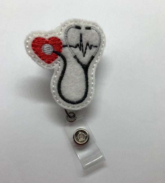 Heartbeat Stethoscope Badge Reel/Badge Clip