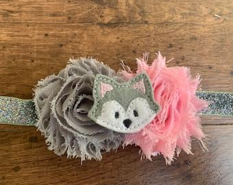 Pink and Gray Huskies baby headband/toddler headband/girl headband