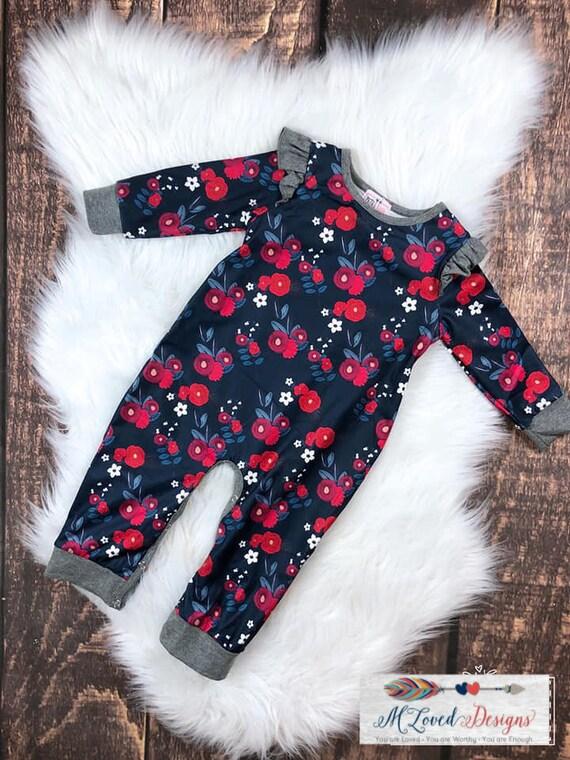 Red Floral Infant Romper