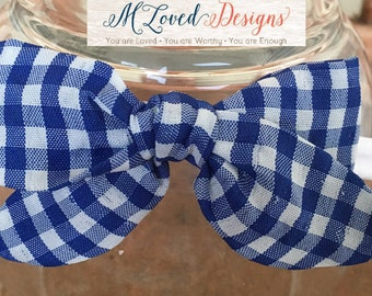 Hand tied Blue & White Gingham nylon headband