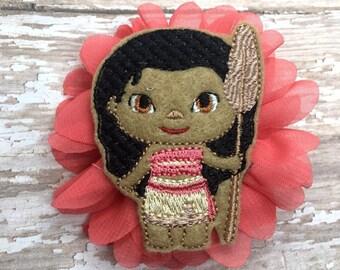 Coral flower Polynesian Princess Hair Clip
