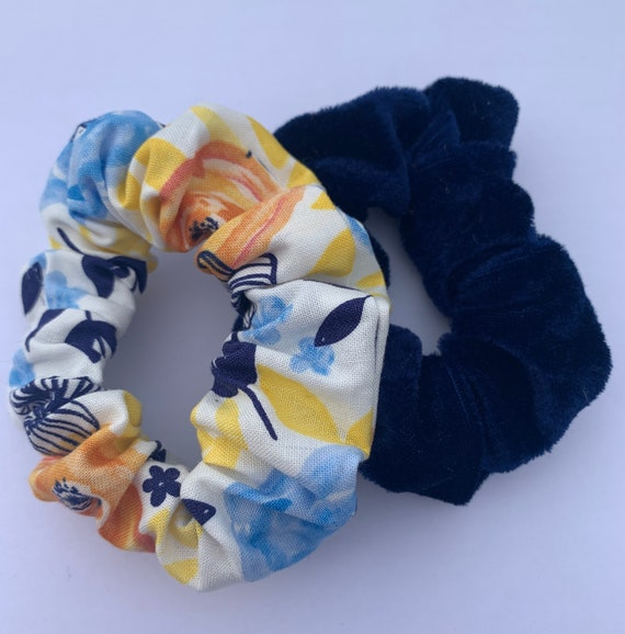 Blue Hawaiian Scrunchie Pack|Blue Velvet Scrunchie Pack|Scrunchie