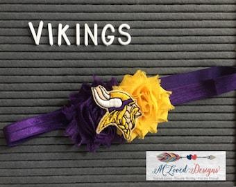 Minnesota Vikings/MN Vikes Headband/Vikings Baby Headband/Vikings Toddler Headband/Vikings Girls Headband