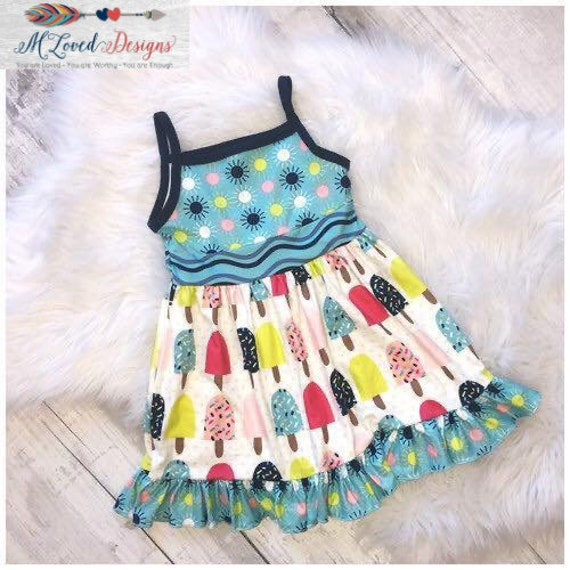 Popsicle Spaghetti Strap Dress-Size 2T