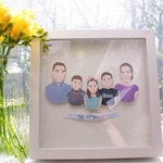 Custom Family Portrait FRAMED -  Personalized and Illustrated Gift for Wedding, Anniversary, or Birthday
