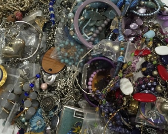 4.6 Pound Lot of Misc Costume Jewelry - Blue Purple Grey Silver - FREE Ship
