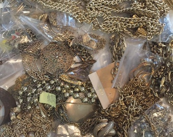 4 Pound Lot of Misc Costume Jewelry - GOLD TONE - FREE Ship