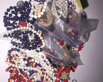 4 Pound Lot of Misc Costume Jewelry - Red White Blue - FREE SHIPPING