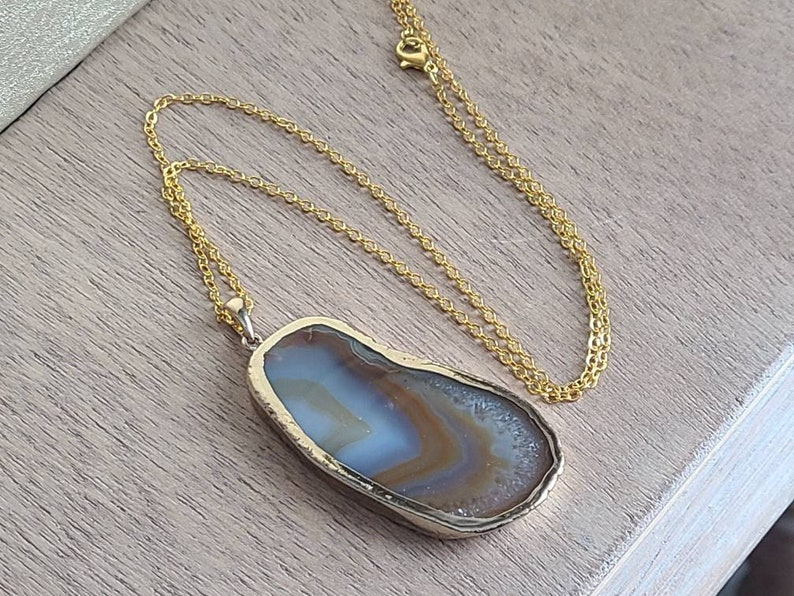 Brown agate necklace,Crystal necklace,Gifts for women