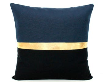 Navy Blue Pillow, Dark Blue Cushion Black and Navy Blue Pillow Cover Color Block Metallic Gold  Cushion Navy Pillow Gold Pillow Black Pillow