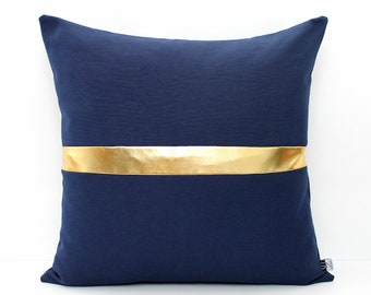 Navy Blue and Gold Colorblock Pillow Cover, All Sizes, Home gifts for you